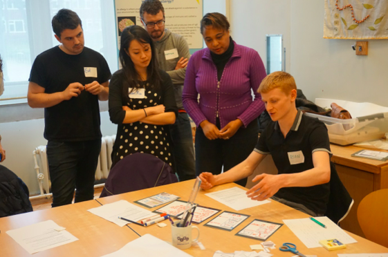 More than just sensors: as part of #BritainBreathing, workshop attendees try out 'paper prototyping' to design a mobile phone app to capture data about hay fever symptoms.